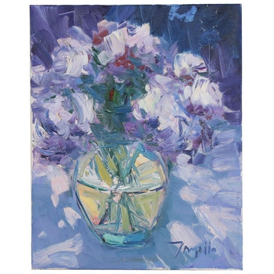 "Jose Trujillo Oil Painting ""Peonies"", 2016"