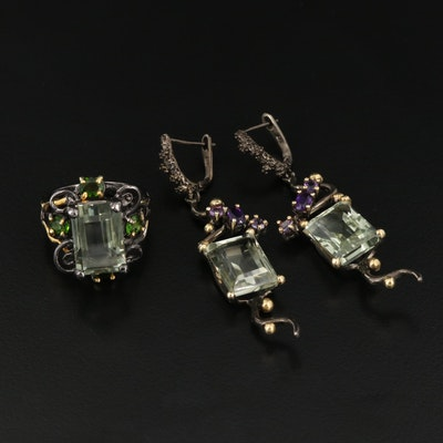 Sterling Prasiolite, Diopside and Amethyst Ring and Dangle Earrings