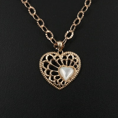 10K Mother of Pearl Pierced Heart Necklace