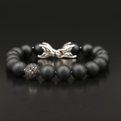 "David Yurman ""Spiritual Bead"" Sterling Black Onyx and Black Diamond Bracelet"