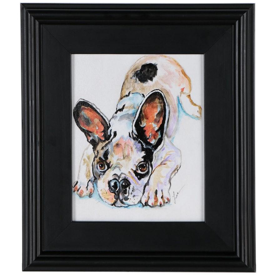 """C.J. Lee Acrylic Painting """"Frenchie"""", 2015"""
