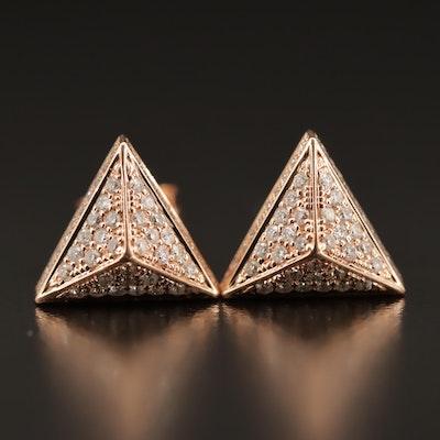14K Rose Gold Diamond Pyramid Stud Earrings