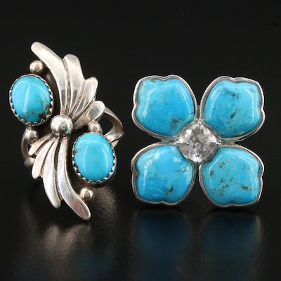 George Begay Navajo Diné Turquoise Ring and Turquoise with Quartz Ring