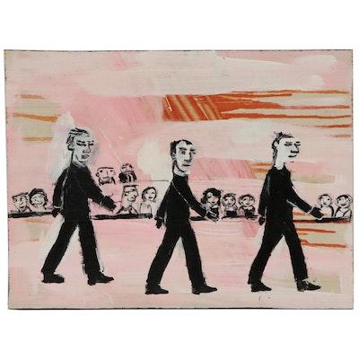 "T. Marie Nolan Folk Art Acrylic Painting ""Boy Band"", 2015"
