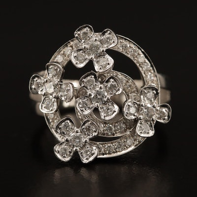 18K 1.00 CTW Diamond Ring with Floral Motif