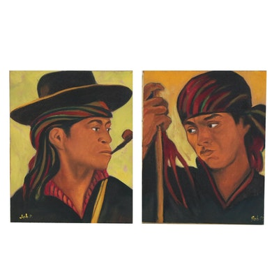 Portrait Oil Paintings of Man with Staff and Man with Pipe, Late 20th Century