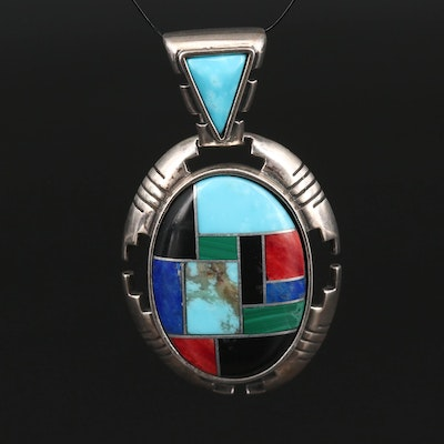 Carolyn Pollack Sterling Turquoise, Mlachite and Spiny Oyster Inlay Pendant