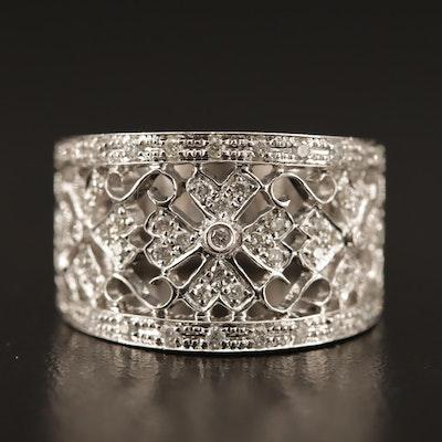 18K Diamond Filigree Ring with Floral Motif