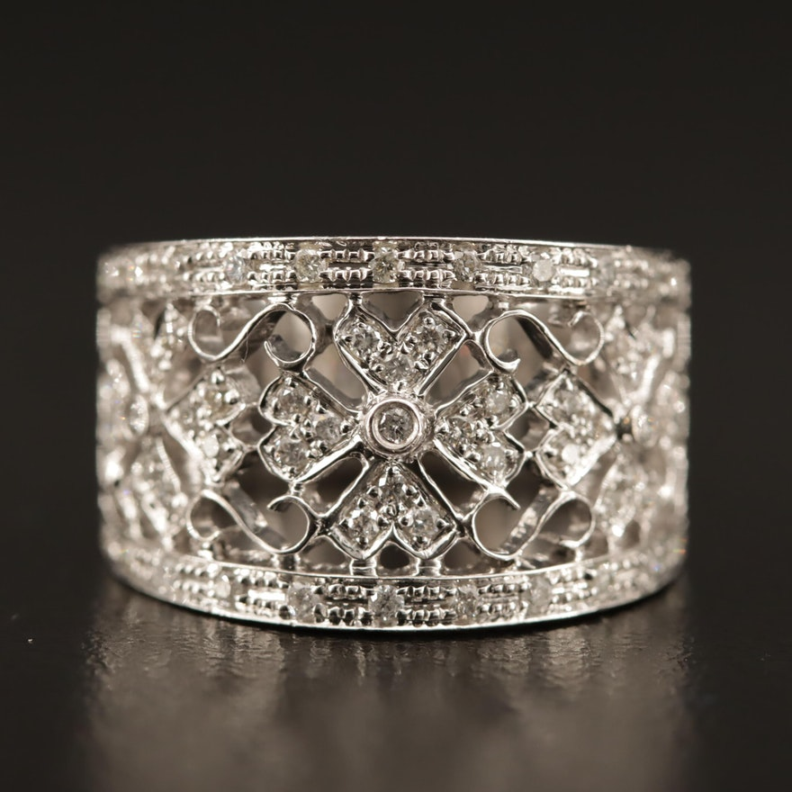 18K Diamond Filigree Ring with Floral Motif