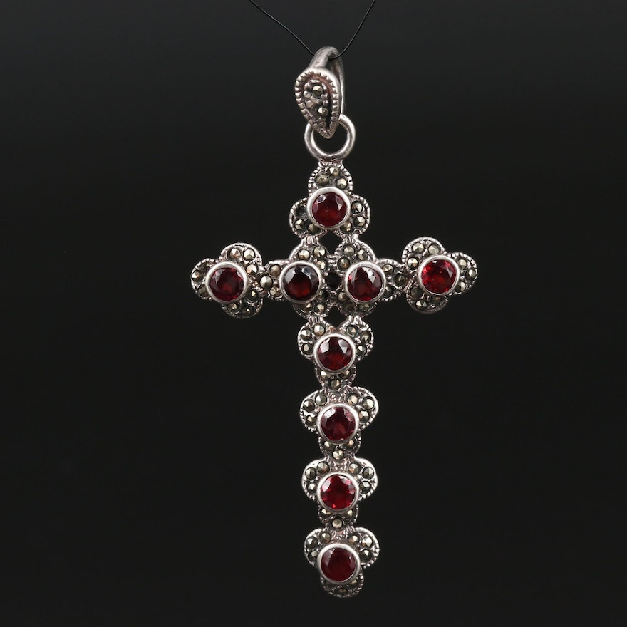 Sterling Silver Garnet and Marcasite Cross Pendant