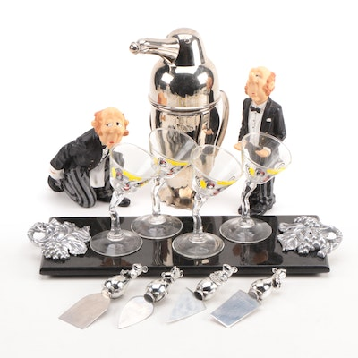 Penguin Cocktail Shaker With Cheese Servers and Other Barware
