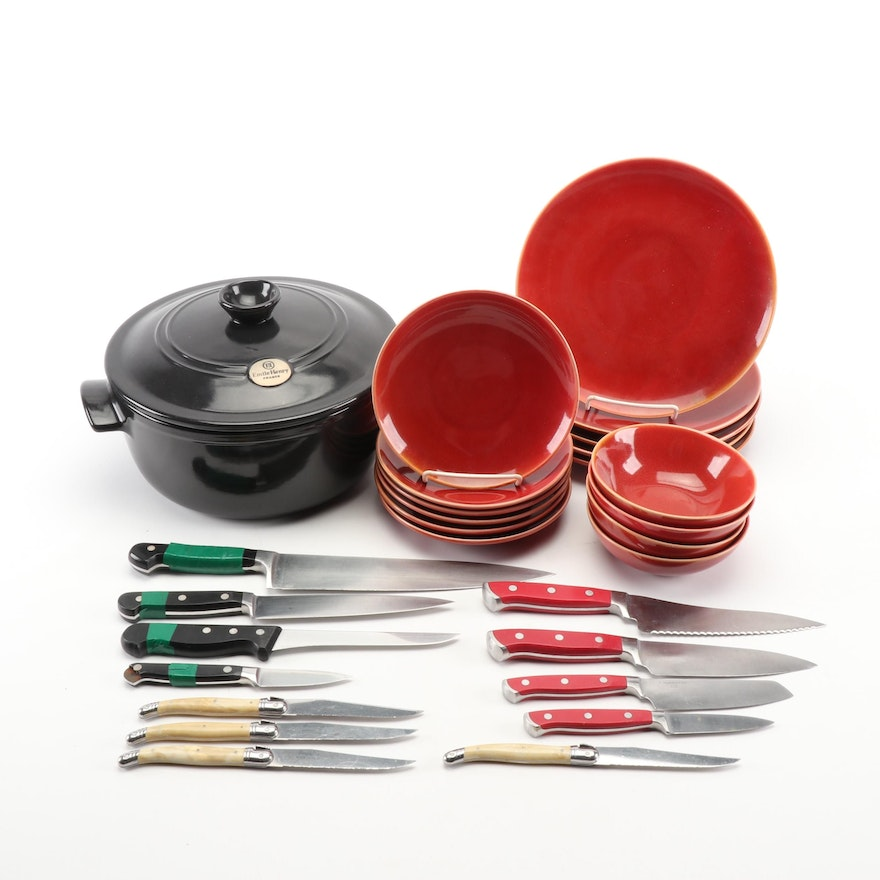 Emile Henry Dutch Oven with Wolfgang Puck Dinnerware and Assorted Cutlery