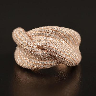 14K Rose Gold 2.40 CTW Diamond Ribbon Ring