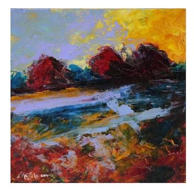 Claire McElveen Impressionist Style Landscape Oil Painting, 2015