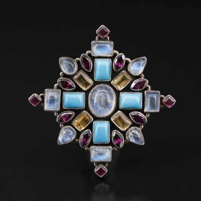 Nicky Butler Rainbow Moonstone, Rhodolite Garnet and Citrine Converter Brooch