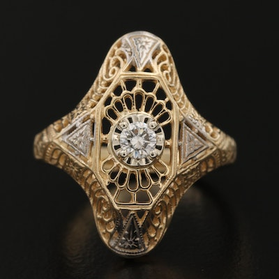Edwardian 14K Gold 0.15 CT Diamond Openwork Ring