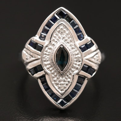 18K Sapphire and Diamond Navette Ring