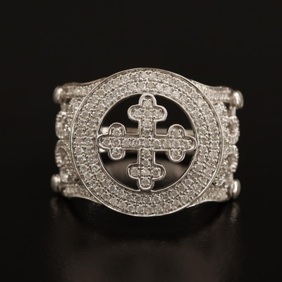 14K and 18K 1.08 CTW Diamond Bottony Cross Ring