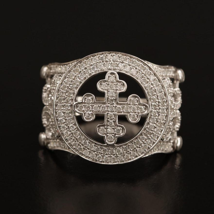 14K and 18K 1.08 CTW Diamond Bottony Cross Ring