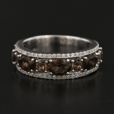 14K Gold Smoky Quartz and Diamond Ring