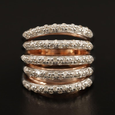 14K 1.43 CTW Diamond Multi-Row Ring
