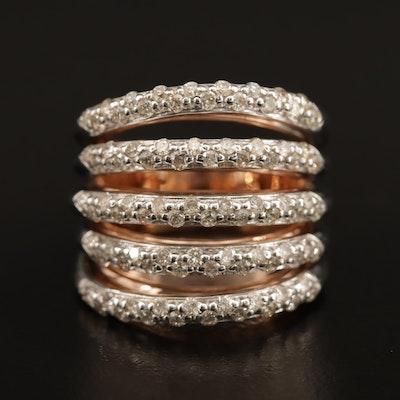 14K 1.43 CTW Diamond Multi-Row Ring