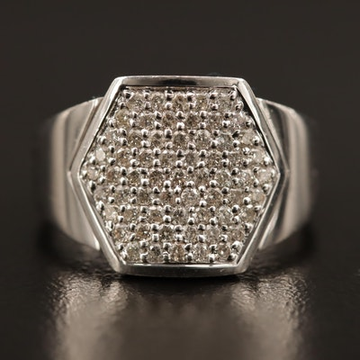 14K Pavé Diamond Hexagon Ring
