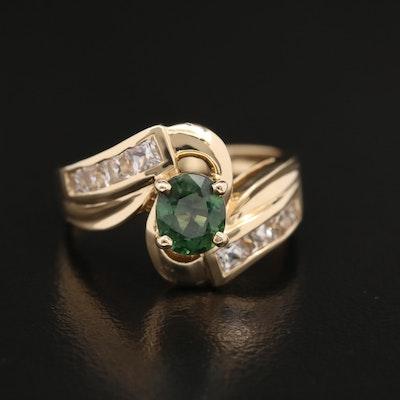 14K Sapphire Bypass Ring Featuring 1.02 CT Center Sapphire
