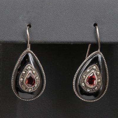 Sterling Silver Garnet, Black Onyx and Marcasite Drop Earrings