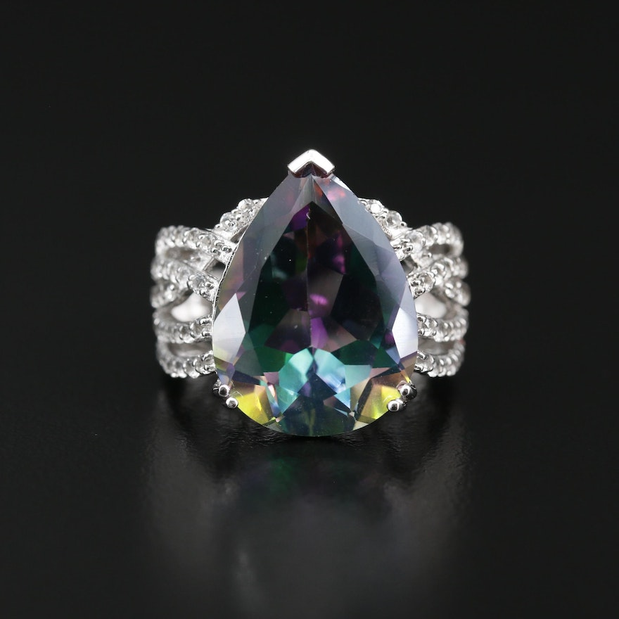 Sterling Topaz and Cubic Zirconia Ring