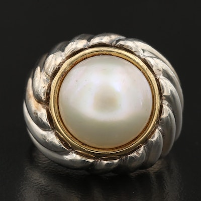 Sterling Silver Mabé Pearl Ring with 18K Accent