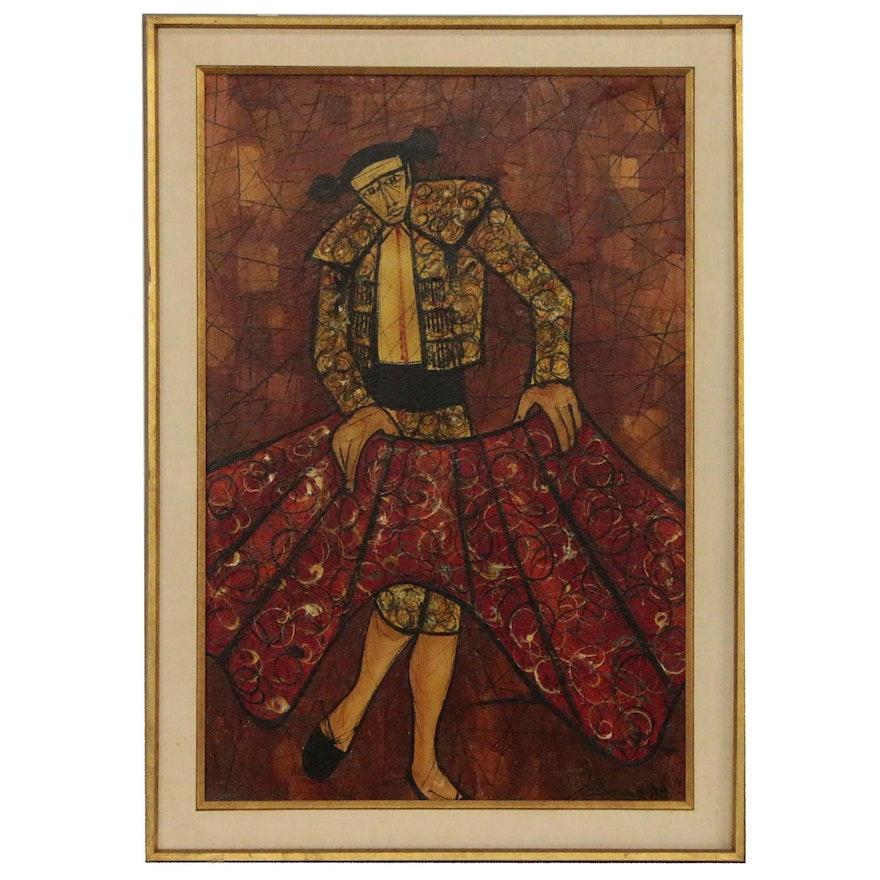Modernist Oil Painting of Matador, Mid 20th Century