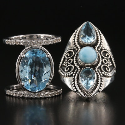 Sterling Silver Blue Topaz, Larimar and White Topaz Rings
