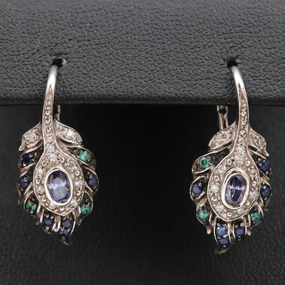 Sterling Silver Cubic Zirconia and Sapphire Earrings