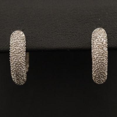 14K 1.00 CTW Pavé Diamond Inside Out Huggie Earrings