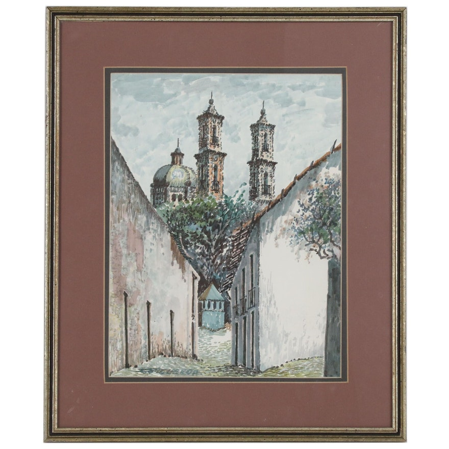 Watercolor Painting of Mexican Street Scene, 20th Century
