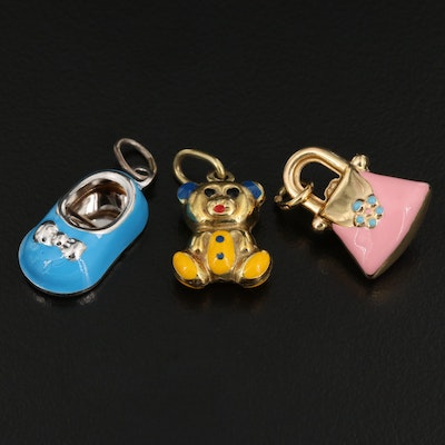 14K Enamel Charms Featuring a Teddy Bear, Shoe and Purse