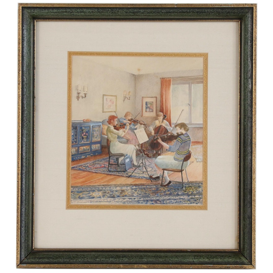 Watercolor Painting of String Quartet in Living Room