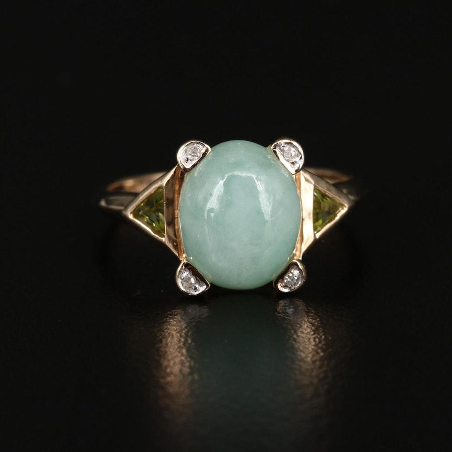 14K Jadeite, Diamond, and Peridot Ring