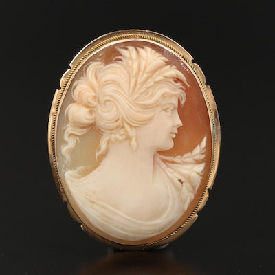 14K and Helmet Shell Cameo Converter Brooch
