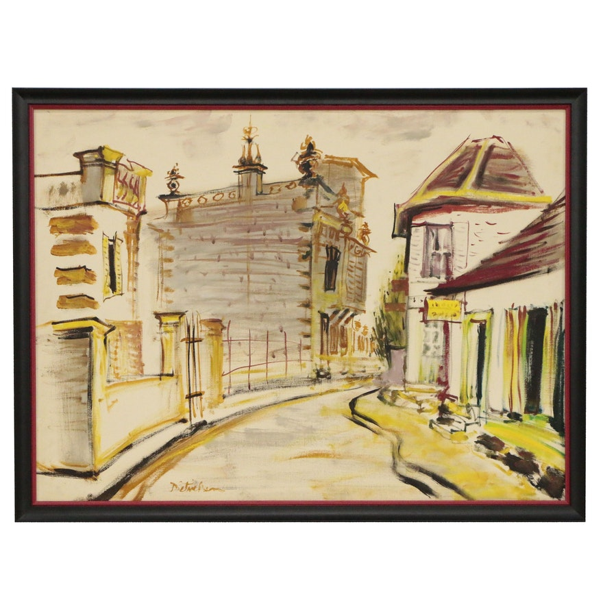Impressionist Style Oil Painting of Street Scene, 20th Century
