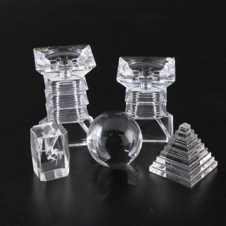 Crystal Paperweights and Candle Holders featuring Villeroy & Boch