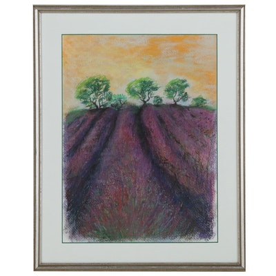 Ginette Callaway Pastel Drawing of Purple Fields, 2000
