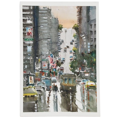 """Massimo Damico Watercolor Painting """"Along West Coast"""", 2010"""