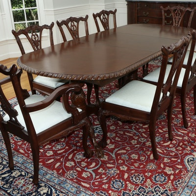 Chippendale Style Mahogany Double Pedestal Dining Table and Chairs, Late 20th C.