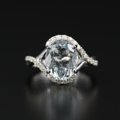 Sterling Aquamarine and Diamond Bypass Ring