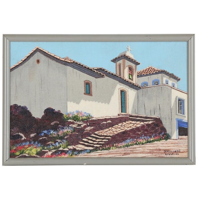 Hugo Moriani Oil Painting of Mission Style Church in Vitoria, Brazil