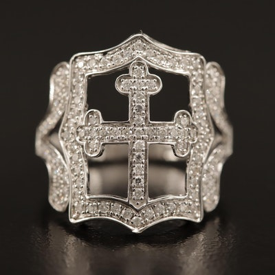 18K Diamond Openwork Cross Ring