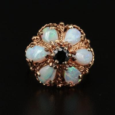 Israeli 14K Sapphire and Opal Princess Ring