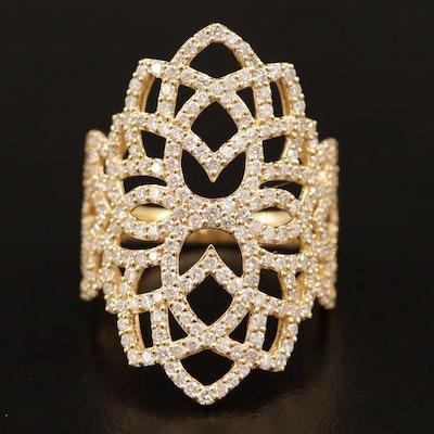 18K 2.32 CTW Diamond Pierced Lace Pattern Ring